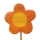 Blume orange, rund mit Stock
